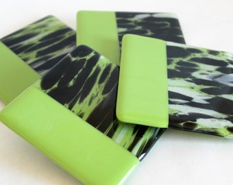 GLASS DRINK COASTERS - Lime Zebra Fused Glass Coaster Set, Gift for New Home, Bridal Shower Gift, Black Lime Decor, Hostess Gift, Ikat Style