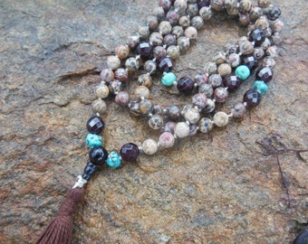 Handmade Turquoise Garnet Leopardskin Jasper Beaded Knotted 108 + 1 Gemstone Mala Prayer Necklace