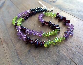 Peridot Garnet Amethyst necklace.  OOAK JEWELRY.  Gift for her.