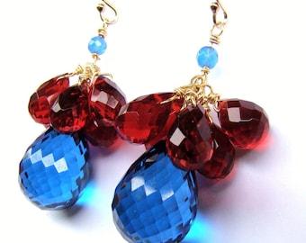 Sale London Blue Topaz Ruby Gems Stone Gold Earrings. One of a kind.  Statement jewelry.