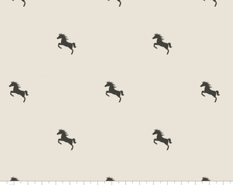 """Horse Polka Dots Au Naturel - Equestrian from Camelot Fabrics - 27"""" x 44"""" End of the Bolt - Carbon Black Wild Horses Mustangs on Natural"""