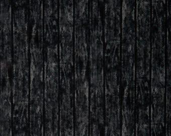 Black Barn Wood from Fabri-Quilt - Full or Half Yard Distressed Barnwood Fabric