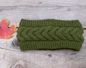 Knit Headband in Loden Green, Women's Cable Knit Headband in Dark Green, Ear Warmer,