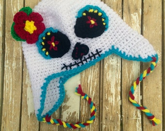 Sugar Skull Earflap Hat, Halloween, Day of the Dead, Dia de los Muertos, Child's Hat, Costume Hat, One of a Kind, Sugar Skull Costume, OOAK