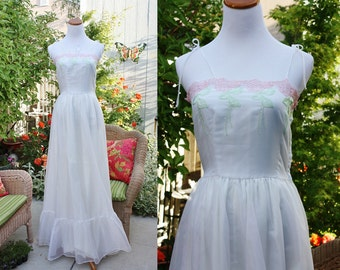 1960's/70's White Gown Size 4 Small Pink Green Eyelet Trim Embroidery Ruffled Chiffon Like Small Vintage REtro 60s/70s Prom Bridal