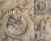 ON SALE Vintage 70s / Gold / Leaf / Choker Necklace and Bracelet Set / Costume Jewelry