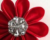 Valentine's Red Silk Flower Pin with Sparkling Rhinestone Button