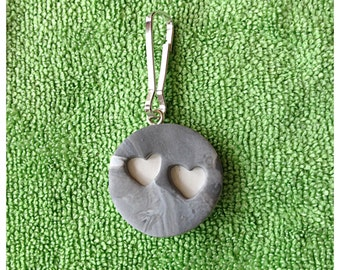 Polymer Clay Cut Out White  Heart Zipper Pull or Charm