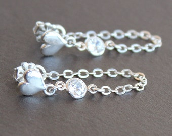 Earrings - Sterling Silver Heart Posts with 4mm CZ Diamond Connectors - Chain Stud Earrings - Valentines Gift