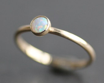Opal Ring - Solid 14K Gold Band - 4mm Coober Pedy Australian Opal - Recycled Eco Metal - Stacking Ring - READY TO SHIP (Size 6)