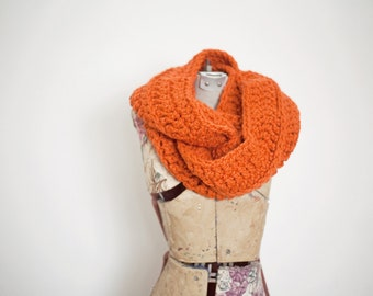 Pumpkin Chunky Cowl Scarf, Womens Infinity Scarf, Oversized Loop Scarf, READY TO SHIP