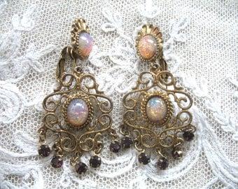 Vintage Bohemian Dangle Earrings ~ Clip On ~ Glass Opals & Amethyst Rhinestones