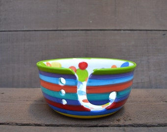 Rainbow Stripes and Polka Dots Large Ceramic Yarn Bowl for Knitters or Crocheters - Apple Green Rim