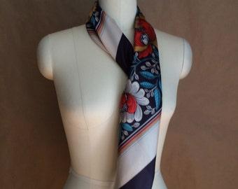 CYBER SALE / vintage 1970's textural floral print scarve / scarf / 1920's wallpaper print / neck scarf /  head wrap