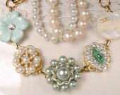 OOAK Mint Green & Ivory Pearl Rhinestone Gold Bridal Bracelet, Vintage Earring Mint Bridesmaid Bracelet, Jewelry Gift, Sets 3 4 5 6 7 8 Also