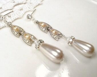 Antique Blush Champagne Pearl Earrings, Long Dangle Bridal Earrings Vintage 1920 Art Deco STERLING SILVER Rhinestone Flapper Gatsby Wedding