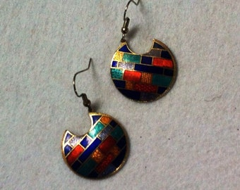 Vintage Cloisonne Dangle  Earrings