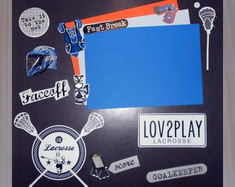 LOVE2PLAY LACROSSE Premade Memory Album Page (Gallery Wood Box Frame Sold Separately)