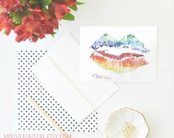 Lips Painting Card Pop Art Lips Stationery Equality Blank Valentine Watercolor Lips Rainbow Lips Fine stationery
