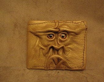 Grichels leather bi-fold wallet - metallic gold with copper star eyes