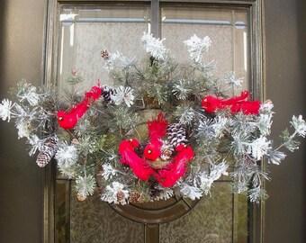 Cardinal Swag, Winter Swag, Snowy Winter Wreath, Flocked Swag, Cardinal Wreath, Wintery Wreath Swag,