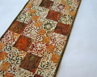 Handmade Quilted Batik Table Runner Fall Colors