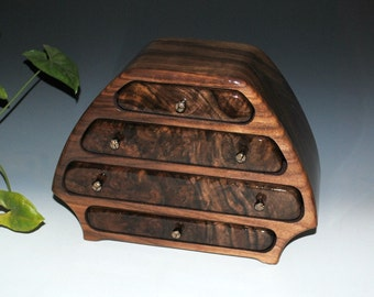 """Handmade Wood """"Bernie"""" Style Jewelry Box in Claro Walnut on Walnut - USA Made by BurlWoodBox - Large Wooden Jewelry Box, Large Jewelry Box"""