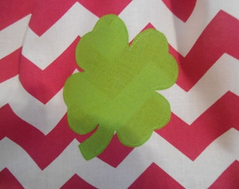 Applique add on to clothing purchased in this shop four leave clover Saint Patricks Day