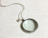 Peraonalized Initial Magnifying Glass Necklace. antique silver magnifying glass necklace.  miniature magnifying glass