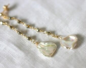 Keshi Pearl and Pyrite 14K Gold Filled Long Earrings