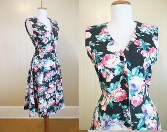 Floral Denim Dress Vintage Black Pink 1980s Medium