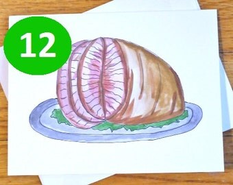 Funny / Rude Christmas Card - Moist and Juice Ham - 12 Pack - Adult Holiday Card - Vagina Pun - Christmas Ham - Watercolor - Rude Witty