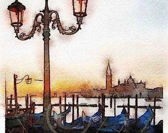 Printable Art, Instant Download, DIY Print At Home, Art Print, Watercolor, Venice, Italy, Blue, Orange,