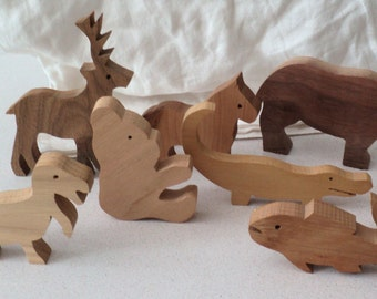 8 Assorted Wood Animals for Play or Display
