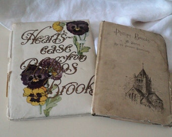 2 Antique Books. 1890s Phillips Brooks A Sketch.  Heart's Ease  Beautifully Illustrated Author Wrote O Little Town of Bethlehem.