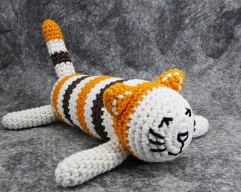 Striped cat organic baby rattle, striped cat with orange, brown and white - amigurumi toy - organic cotton