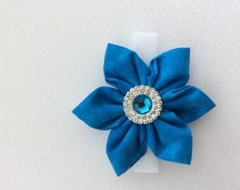 Blue Dog Collar Flower with Rhinestone Center- Ready to Ship