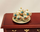 Tiny Miniature Tea Set Scale Dollhouse Dishes Pink Blue and Green Floral w Porcelain Gilded