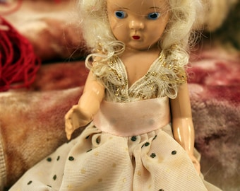 Virga Doll Hard Plastic Storybook 5 inch 1950s Original Clothing Mohair White Wig