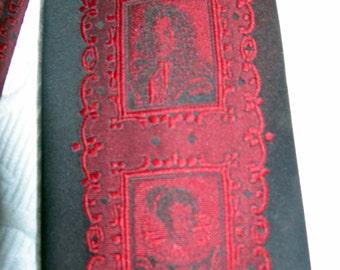 Vintage Wembley Tie w/Elizabethan Women/Men Portrait Designs-Red & Black