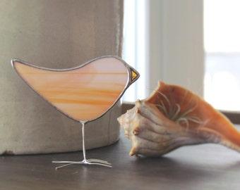 Salmon Orange Stained Glass Bird Suncatcher Spring Chick Ornament Handmade in Canada