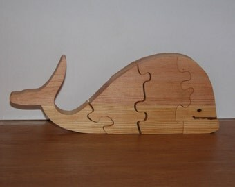 Wooden Whale Puzzle for Child - Child's Decor - Kid's Toy - Child's Whale Puzzle - Four Piece Puzzle