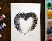 Hawk Feather Heart - Original feather painting