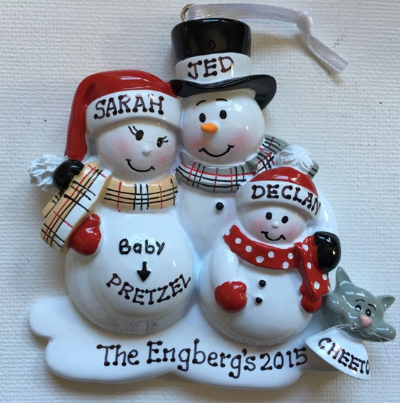 Personalized Christmas Ornament Pregnant Snowman Family With