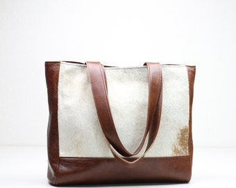 Classic Leather Tote, Brown Leather Bag, Leather Tote Bag, Calf Hair Tote, Calf Hair Handbag, Brown and Cream