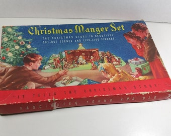 CARDBOARD MANGER SET, Early 1950's, Original Box, Concordia Products, Vintage Christmas Nativity Scene