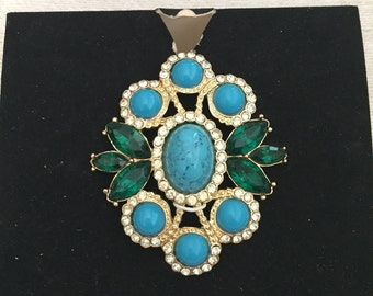 Faux Turquoise Cabochon Rhinestone Accented Gold Tone Vintage SARAH COVENTRY Pendant