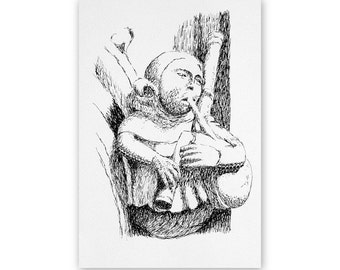 Minstrel 2, bagpipes player, Medieval stone carving, ink drawing, 6 x 9 inches