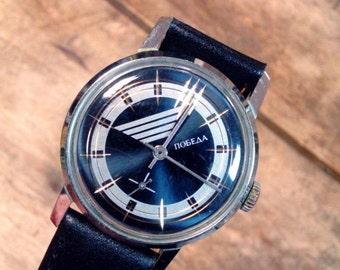 25 OFF SALE Wrist watch mens watch Pobeda cobalt blue watch men watch