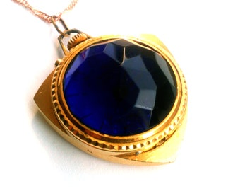 Ladies mechanical watch pendant Zaria from Russia Soviet Union gold plated cobalt blue